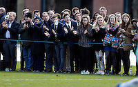 The crowd look on during the Pcubed Rugby League Varsity Match 2016 between Oxford University and Cambridge University at the HAC ground, London, on Fri March 4, 2016.