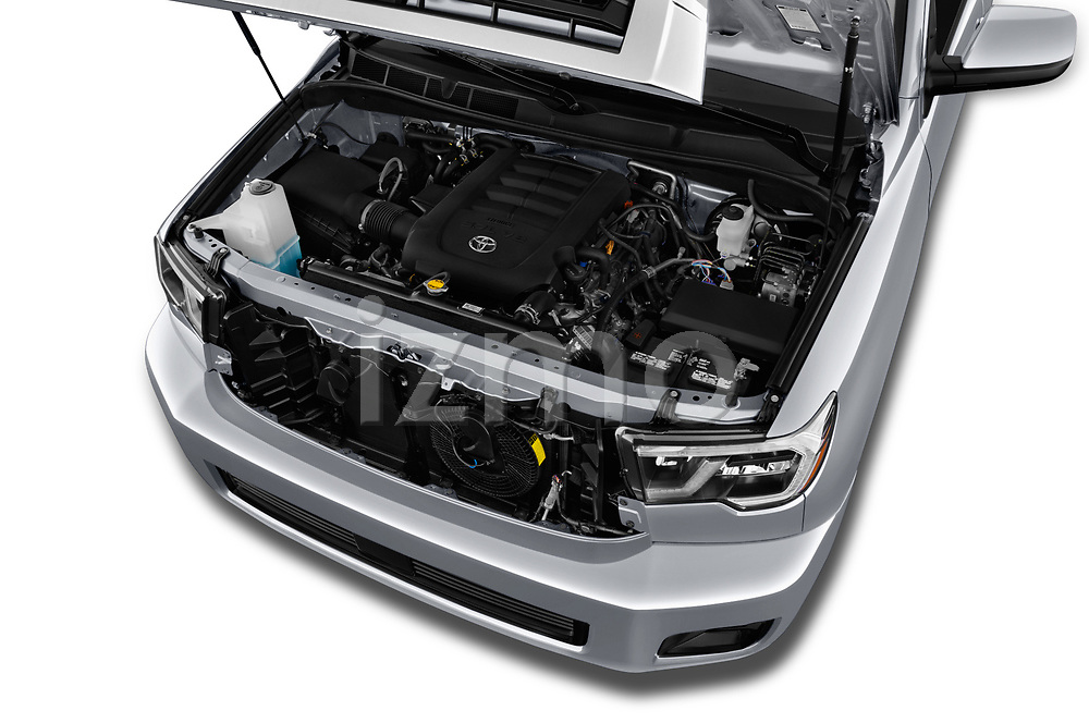 Car stock 2018 Toyota Sequoia SR5 Auto 5 Door SUV engine high angle detail view