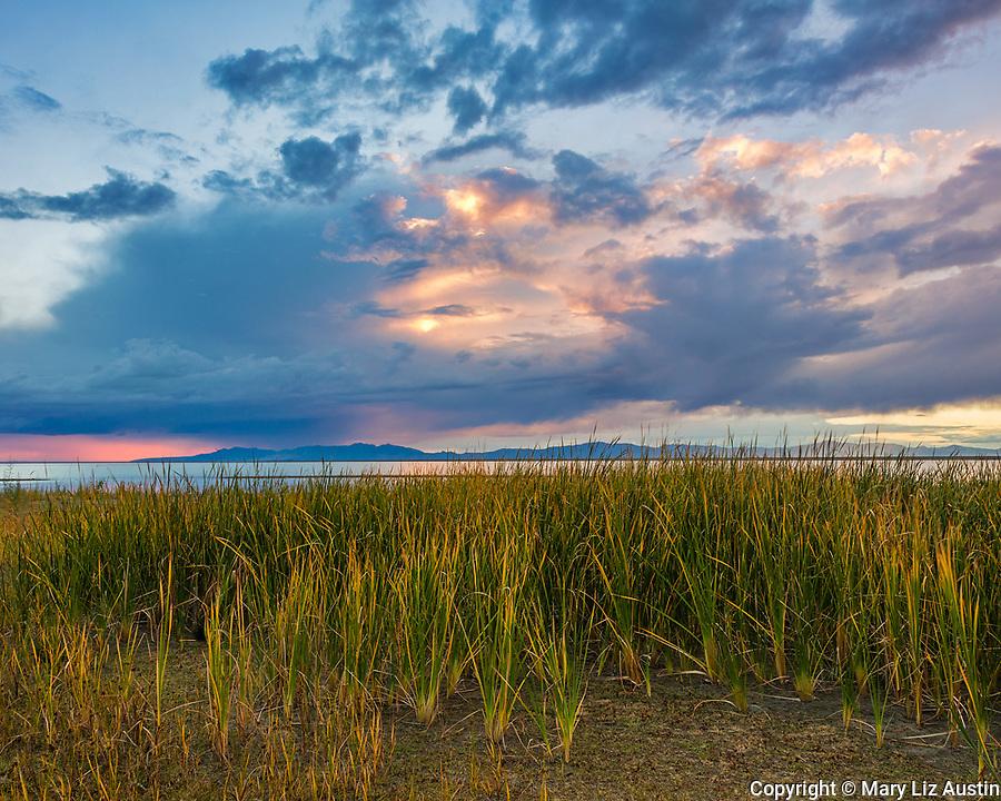 Willard Bay State Park, Utah: Sunset clouds over Willard Bay.