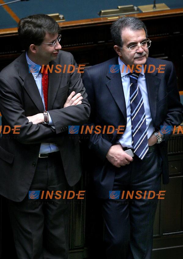 Roma, 29/04/2006 Camera:Votazione per il Presidente<br /> Nella foto Romano Prodi e Dario Franceschini<br /> Photo Serena Cremaschi Insidefoto