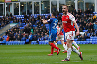 Paddy Madden of Fleetwood Town shows his displeasure at the referee's assistant during the Sky Bet League 1 match between Peterborough and Fleetwood Town at London Road, Peterborough, England on 28 April 2018. Photo by Carlton Myrie.