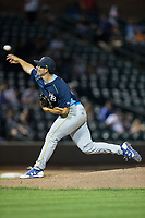 Myrtle Beach Pelicans relief pitcher Dillon Maples (35) delivers a pitch to the plate against the Winston-Salem Dash at BB&T Ballpark on May 11, 2017 in Winston-Salem, North Carolina.  The Pelicans defeated the Dash 9-7.  (Brian Westerholt/Four Seam Images)