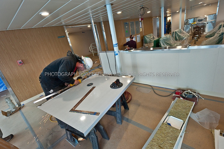 9/21/2011--Everett, WA, USA<br /> <br /> <br /> <br /> The Kennewick is the third of three Kwa-di Tabil Class (64-Car) Ferries that Vigor Shipyards (formerly Todd Pacific Shipyards) is building.&nbsp; The Kennewick will be used on the Puget Sound ferry route to be determined.&nbsp; Construction started in Fall of 2010 and the vessel will be in service in the Fall of 2011. At the moment, the ferry is being outfitted before being put into service.<br /> <br /> Photograph by Stuart Isett