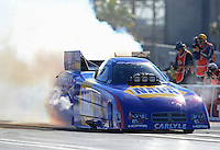 Oct. 26, 2012; Las Vegas, NV, USA: NHRA funny car driver Ron Capps during qualifying for the Big O Tires Nationals at The Strip in Las Vegas. Mandatory Credit: Mark J. Rebilas-