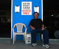 "Doyle Mitchell sits in front of VFW Post 1392 in Ocean Beach, Saturday July 12 2008.  Mitchell, who is Quarter-Master for the Post said that the post donated $750 worth of clothes to this weekends ""Stand Down"" for homeless veterans at Balboa Park."