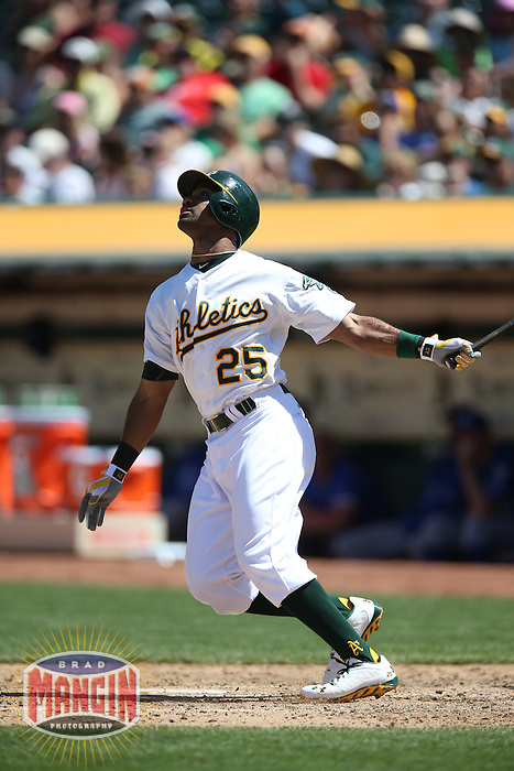 OAKLAND, CA - MAY 19:  Chris Young #25 of the Oakland Athletics bats during the game against the Kansas City Royals at O.co Coliseum on Sunday May 19, 2013 in Oakland, California. Photo by Brad Mangin
