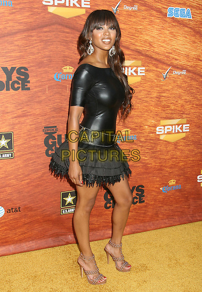 "MEAGAN GOOD.2008 Spike TV's ""Guys Choice"" Awards held at Sony Studios, Los Angeles, California, USA..May 30th, 2008.full length black skirt top leather pvc  shoes studded brown gladiator sandals shoes heels .CAP/ADM/MJ.©Michael Jade/AdMedia/Capital Pictures."
