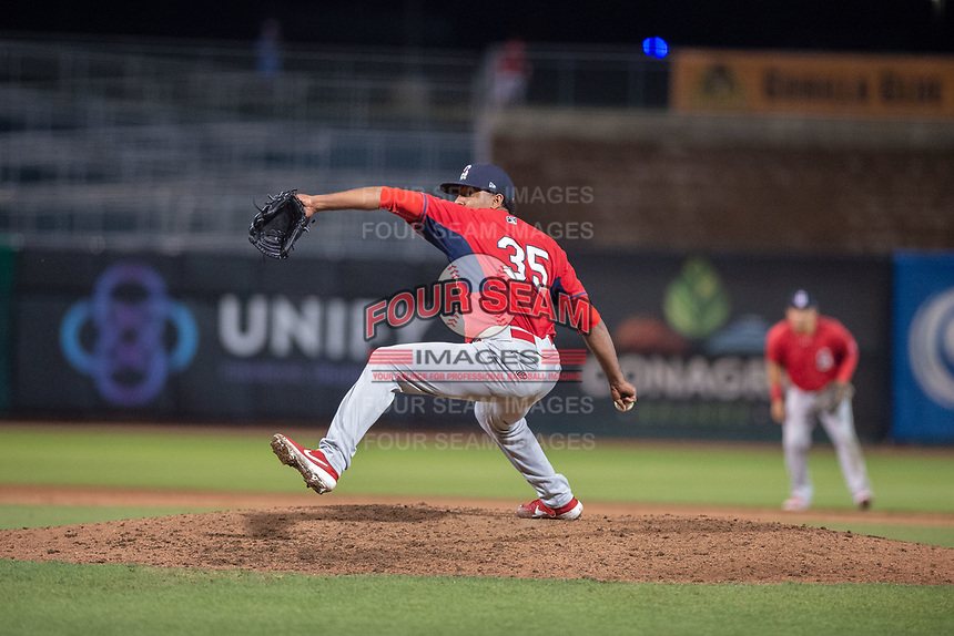 Springfield Cardinals pitcher Angel Rondon (35) delivers a pitch on May 18, 2019, at Arvest Ballpark in Springdale, Arkansas. (Jason Ivester/Four Seam Images)