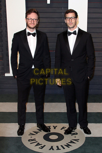 28 February 2016 - Beverly Hills, California - Akiva Schaffer, Andy Samberg. 2016 Vanity Fair Oscar Party hosted by Graydon Carter following the 88th Academy Awards held at the Wallis Annenberg Center for the Performing Arts. <br /> CAP/ADM<br /> &copy;ADM/Capital Pictures