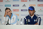 The Hague, Netherlands, June 01: Luciana Aymar #8 of Argentina and head coach Carlos Retegui of Argentina during the press conference after the field hockey group match (Women - Group B) between Argentina and South Africa on June 1, 2014 during the World Cup 2014 at Kyocera Stadium in The Hague, Netherlands. Final score 4:1 (2:0) (Photo by Dirk Markgraf / www.265-images.com) *** Local caption ***