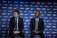 14th January 2020; Camp Nou, Barcelona, Catalonia, Spain; Press Conference for the introduction of the new manager Barcelona manager Quique Setien;  Josep Maria Bartomeu president of FC BARCELONA and Eric Abidal- Editorial Use
