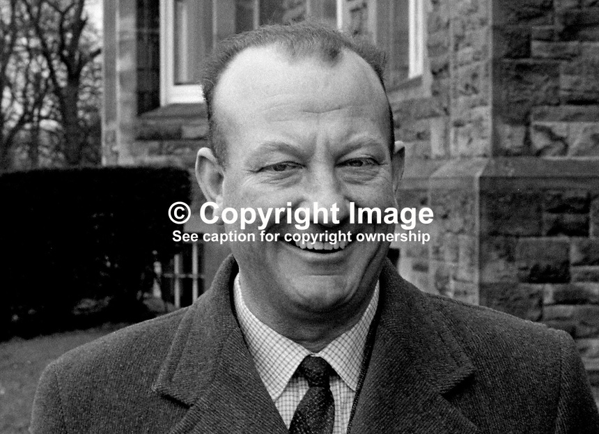 Supt Bertie Seay, RUC, Royal Ulster Constabulary, N Ireland, security officer, Parliament Buildings, Stormont, March 1971. 197103000171<br /> <br /> Copyright Image from Victor Patterson, 54 Dorchester Park, Belfast, UK, BT9 6RJ<br /> <br /> t1: +44 28 9066 1296<br /> t2: +44 28 9002 2446<br /> m: +44 7802 353836<br /> e: victorpatterson@me.com<br /> <br /> www.victorpatterson.com<br /> <br /> IMPORTANT: Please see my Terms and Conditions of Use at www.victorpatterson.com