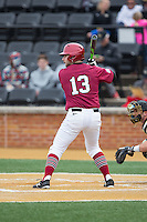 DJ Link (13) of the Harvard Crimson at bat against the Wake Forest Demon Deacons at David F. Couch Ballpark on March 5, 2016 in Winston-Salem, North Carolina.  The Crimson defeated the Demon Deacons 6-3.  (Brian Westerholt/Four Seam Images)