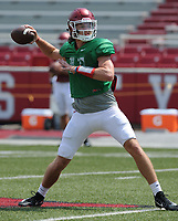 NWA Democrat-Gazette/ANDY SHUPE<br /> Arkansas quarterback Daulton Hyatt drops back to pass Saturday, Aug. 5, 2017, prior to the start of a scrimmage in Razorback Stadium in Fayetteville. Visit nwadg.com/photos to see more photographs from the practice.