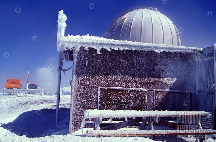 Observatory on the frozen summit of Mauna Kea, Big island of Hawaii
