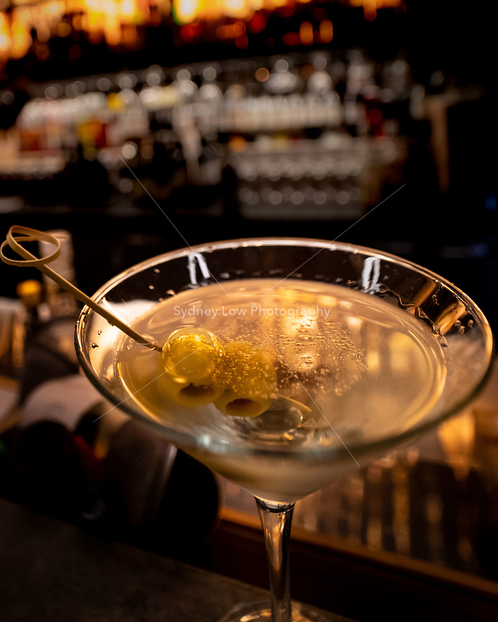 Melbourne, June 13, 2018 - A martini at Philippe in Melbourne, Australia. Photo Sydney Low