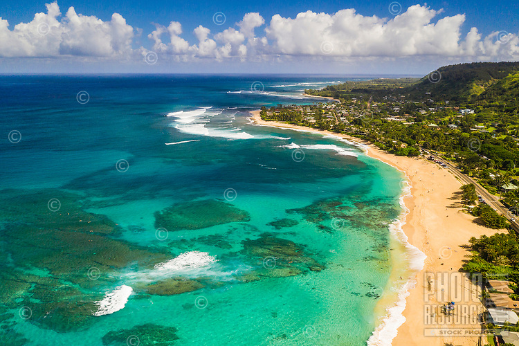 Looking east at Sunset Beach, North Shore of O'ahu, seen from above.