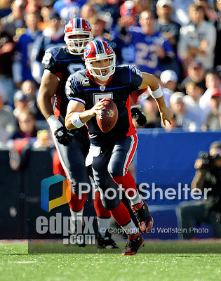 19 October 2008:  Buffalo Bills' quarterback Trent Edwards scrambles for a 12-yard gain and a first down in the third quarter against the San Diego Chargers at Ralph Wilson Stadium in Orchard Park, NY. The Bills defeated the Chargers 23-14 and maintain their first place position in the AFC East with a 5 and 1 record...Mandatory Photo Credit: Ed Wolfstein Photo
