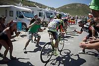 stage leader Rafal Majka (POL/Tinkoff-Saxo) up the Col du Tourmalet (HC/2115m/17km/7.3%)<br /> <br /> st11: Pau - Cauterets (188km)<br /> 2015 Tour de France