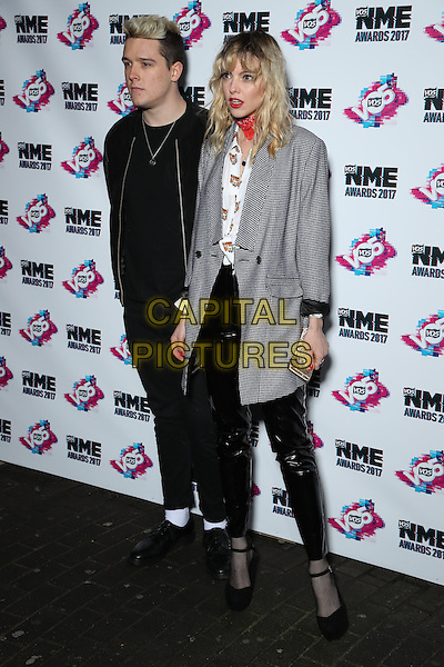 Harry Balazs and Laura Hayden - Anteros<br /> The VO5 NME Awards 2017 at the O2 Academy, Brixton, London on February 15th 2017<br /> CAP/GOL<br /> &copy;GOL/Capital Pictures