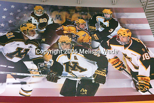 Every Golden Gopher who has been named an All-American is included in one of the large murals on the concourse walls.  In addition to the All-American murals, there are large photo banners of highlights and a display of Olympic participation by former Gophers. Mariucci Arena, the home of the University of Minnesota's men's hockey program, was built in 1993 and remodeled to add seats in both 1996 and 2001.  It has an Olympic-sized ice sheet and seats 10,000.