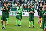 15.04.2018, Weser Stadion, Bremen, GER, 1.FBL, Werder Bremen vs RB Leibzig, im Bild<br /> <br /> Dank an die Fans nach dem Spiel <br /> Milos Veljkovic (Werder Bremen #13)<br /> Sebastian Langkamp (Werder Bremen #15)<br /> Ishak Belfodil (Werder #29)<br /> Robert Bauer (Werder Bremen #4)<br /> Jerome Gondorf (Werder Bremen #8)<br /> Maximilian Eggestein (Werder Bremen #35)<br /> <br /> Foto &copy; nordphoto / Kokenge