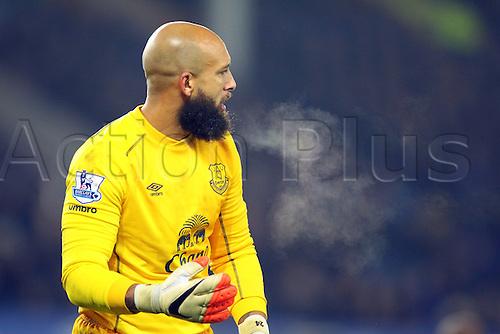 03.12.2014.  Liverpool, England. Premier League. Everton versus Hull. Everton goalkeeper Tim Howard breaths heavily