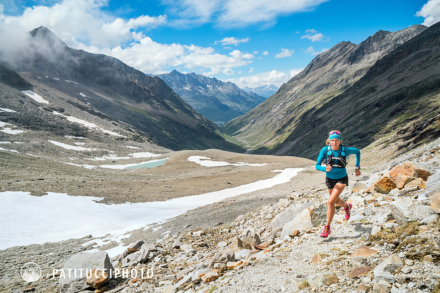 Trail running in the Furggtal, above Saas Almagell, Switzerland