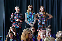 Pictured L-R: Tic Ashfield, Kirsten Evans and Kate Willetts all working for WNO look on as Year 9 and 10 pupils rehearse Wales National Opera's Rhondda Rips It UP at of John Frost School in Newport, Wales, UK. Thursday 11 May 2018<br /> Re: Welsh National Opera is creating a new musical hall-style all female piece for the summer called Rhondda Rips It Up. It's about the life of suffragette Lady Rhondda with songs inspired by suffragette slogans. Opera opening next month in Newport, south Wales, where Lady Rhondda blew up a postbox with a home-made bomb and went to jail for.