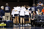 CHARLOTTESVILLE, VA - FEBRUARY 15: Notre Dame players huddle before taking the court. The University of Virginia Cavaliers hosted the University of Notre Dame Fighting Irish on February 15, 2018 at John Paul Jones Arena in Charlottesville, VA in a Division I women's college basketball game. Notre Dame won the game 83-69.