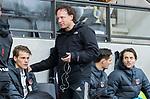 AMSTELVEEN -  assistent-coach Jan Jorn van 't Land met rechts   Tom Hiebendaal (Adam) tijdens de hoofdklasse competitiewedstrijd heren, AMSTERDAM-ROTTERDAM (2-2). links Tijn Lissone (Adam)  COPYRIGHT KOEN SUYK