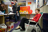 Labour MP Glenda Jackson rests in her local campaign office after canvassing during the 2010 General Election campaign in the newly created marginal constituency of Hampstead and Kilburn.