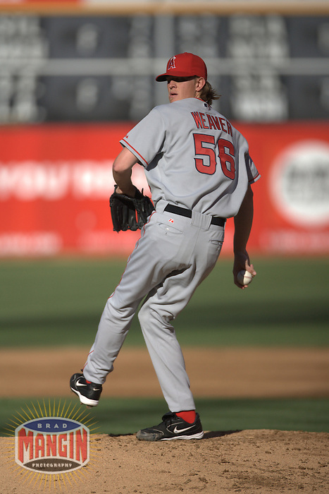 Jered Weaver. Baseball: Los Angeles Angels of Anaheim vs Oakland Athletics at McAfee Coliseum in Oakland, CA on July 8, 2006. Photo by Brad Mangin