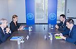 Juan Carlos Vera, Maria Dolores de Cospedal, Gorka Maneiro and Miguel Angel Arranz during the meeting between Partido Popular and Union Progreso y Democracia. May 23,2016. (ALTERPHOTOS/Rodrigo Jimenez)