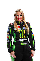Feb 8, 2017; Pomona, CA, USA; NHRA top fuel driver Brittany Force poses for a portrait during media day at Auto Club Raceway at Pomona. Mandatory Credit: Mark J. Rebilas-USA TODAY Sports