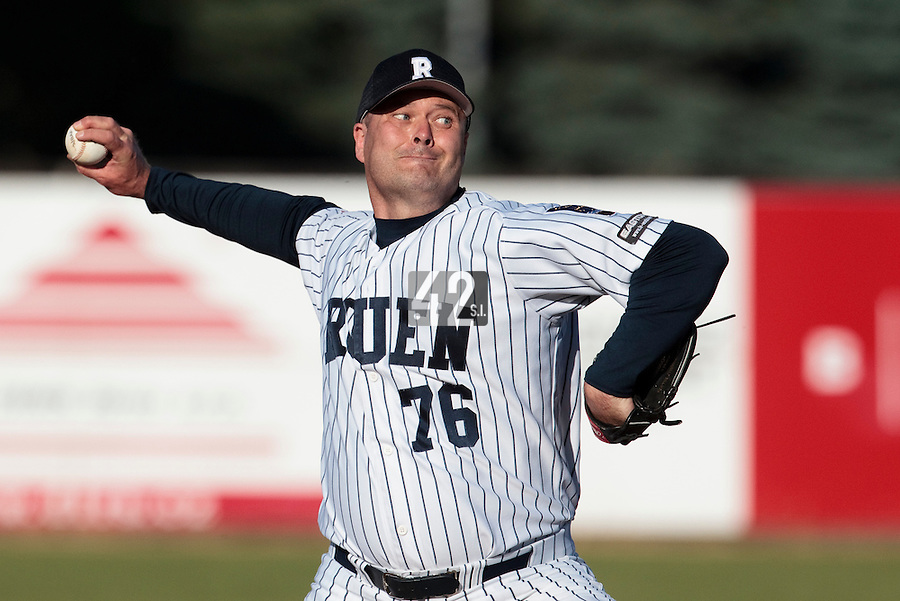05 June 2010: Starting pitcher Robin Roy of Rouen pitches against Fortitudo Bologna during the 2010 Baseball European Cup match won 10-0 by Fortitudo Bologna over the Rouen Huskies, at the AVG Arena, in Brno, Czech Republic.