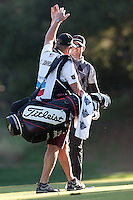 December 3, 2011: Zach Johnson and caddie Damon Green during the third round of the Chevron World Challenge held at Sherwood Country Club, Thousand Oaks, CA.