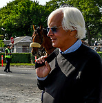ELMONT, NY - JUNE 08: Bob Baffert walks to the track to watch Justify exercise on Friday for the 150th running of the Belmont Stakes at Belmont Park on June 8, 2018 in Elmont, New York. (Photo by Eric Patterson/Eclipse Sportswire/Getty Images)