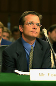 Michael J. Fox listens to testimony during a hearing of the United States Senate Appropriations Subcommittee on Labor, HHS, and Education on the benefits of stem cell research in Washington, D.C. on September 14, 2000..Credit: Ron Sachs / CNP