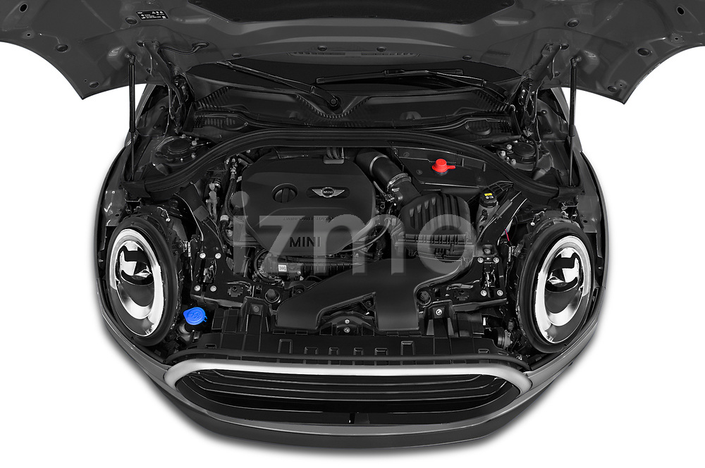 Car stock 2018 Mini Clubman Cooper Kensington 5 Door Wagon engine high angle detail view