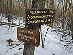 Trail sign in Camden Hills State Park, Camden, Maine, USA