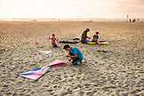 USA, Washington State, Long Beach Peninsula, International Kite Festival, the Kirby family from The Dalles Oregon prepares to fly their kites