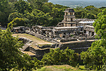 The Palace in the ruins of the Mayan city of Palenque,  Palenque National Park, Chiapas, Mexico.  A UNESCO World Heritage Site.