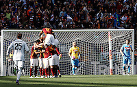 Calcio, Serie A: Roma vs Napoli. Roma, stadio Olimpico, 25 aprile 2016.<br /> Roma&rsquo;s Radja Nainggolan is hidden by teammates' hugs, at left, after scoring the winning goal during the Italian Serie A football match between Roma and Napoli at Rome's Olympic stadium, 25 April 2016. Roma won 1-0.<br /> UPDATE IMAGES PRESS/Isabella Bonotto