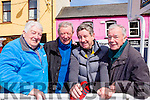 Cycling legends at the final the stage of Ras Mumhan in Killorglin on Monday l-r: Paudie Fitzgerald Dingle who cycled for Ireland in the 1956 Melbourne Olympic games, Pat healy Killorglin who cycled in the Munich Olympic Games, Gearoid Costello Limerick and Gene Mangan Killorglin who won the 1955 Ras