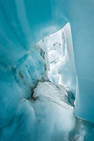 Blue ice cave on Franz Josef Glacier, Westland Tai Poutini National Park, UNESCO World Heritage Area, West Coast, New Zealand, NZ