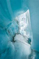 Blue ice cave on Franz Josef Glacier, Westland Tai Poutini National Park, UNESCO World Heritage Area, West Coast, New Zealand, NZ