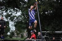 FIERLJEPPEN: IT HEIDENSKIP: 29-06-2016, 1e klasse wedstrijd fierleppen, afgelast wegens regen, Nard Brandsma, ©foto Martin de Jong