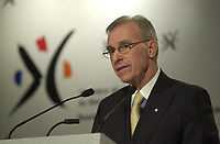February 17, 2004, Montreal (Qc) CANADA.<br /> Paul Tellier, Bombardier President and CEO proposes concrete solutions for drawing up a<br /> Canadian aerospace policy.