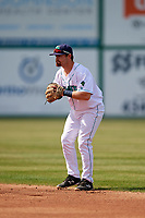 Lynchburg Hillcats second baseman Dillon Persinger (38) during the first game of a doubleheader against the Potomac Nationals on June 9, 2018 at Calvin Falwell Field in Lynchburg, Virginia.  Lynchburg defeated Potomac 5-3.  (Mike Janes/Four Seam Images)